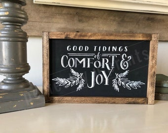 Good Tidings of Comfort and Joy Sign | Christmas Signs | Wooden Signs | Christmas Decor | Farmhouse Home Decor | Rustic Christmas Decor