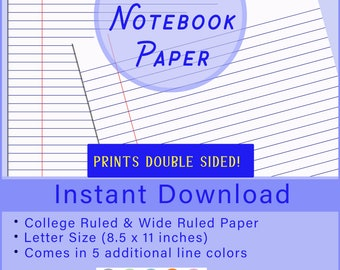 graphic regarding Wide Ruled Paper Printable referred to as Vast dominated paper Etsy