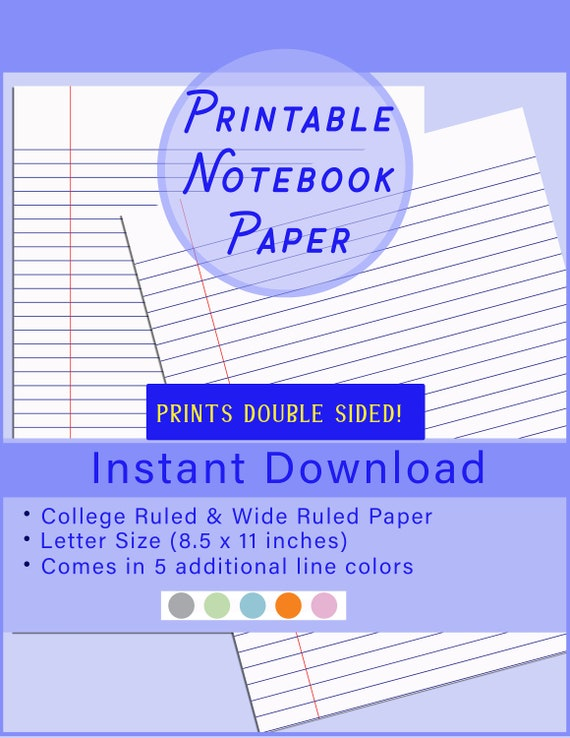 Digital Lined Paper Prints Two Sided Click Now To Learn More Details Comes In Traditional 5 Extra Colors