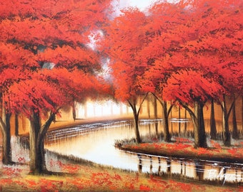"""24"""" x 36"""" Abstract Red Trees. Hand painted oil on canvas-stretched"""
