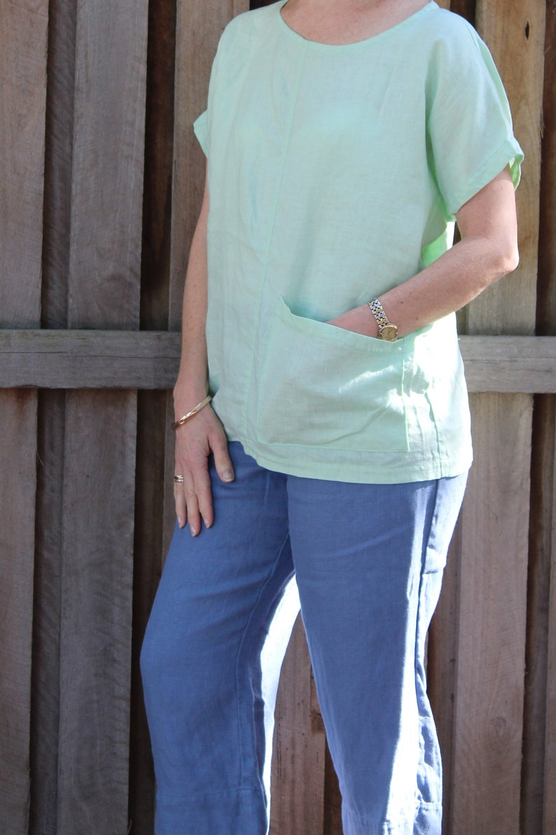 Womens wide shoulder 100/% Linen tee with angled patch pocket Light Green