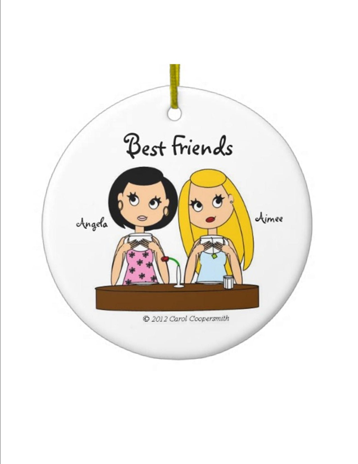 best friends acrylic christmas ornaments personalized brunette