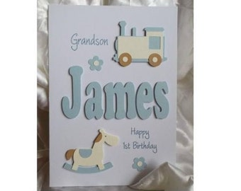 Personalised Handmade 1st 2nd 3rd EtcBirthday Card With Any Text Of Your Choice Son Grandson Nephew Godson Etc