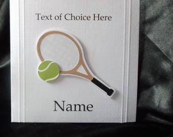 Personalised Tennis Card Any Occasion, Birthday, Congratulations, Thank You, Father's Day, Mother's Day etc.
