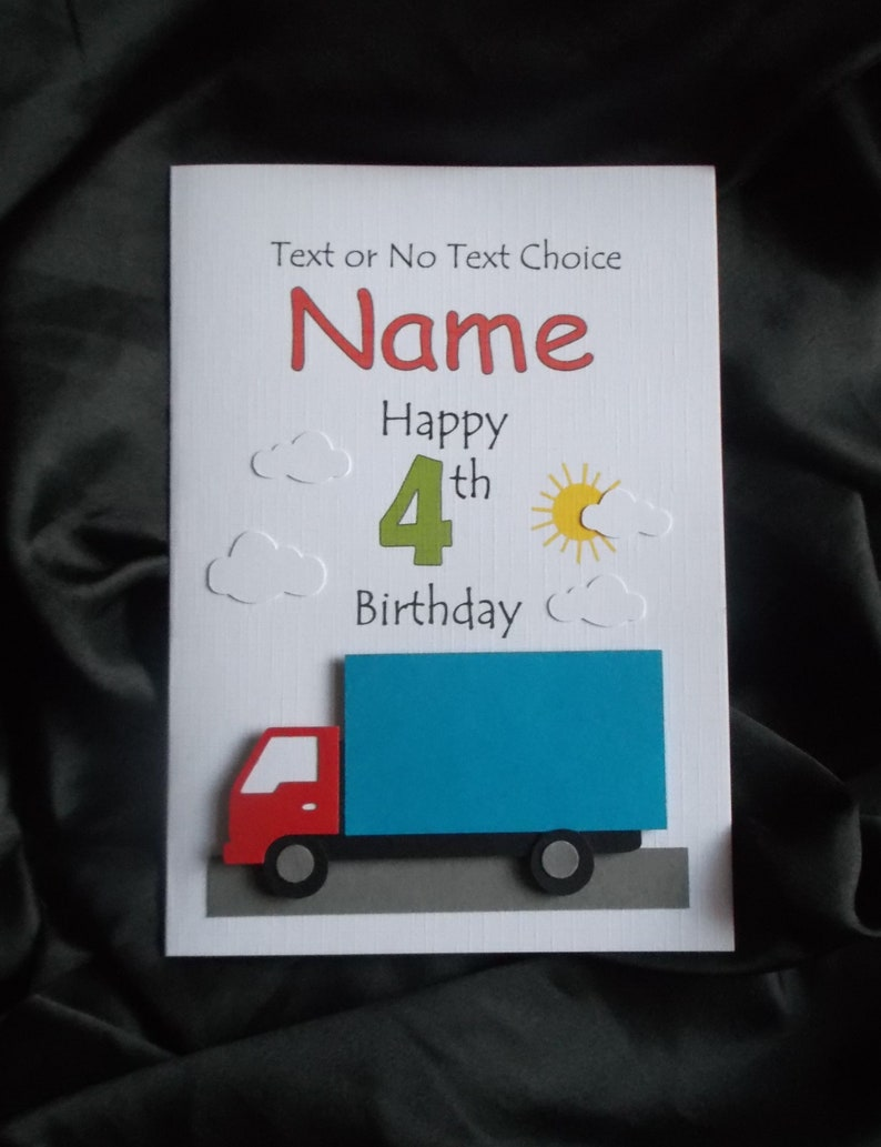 Personalised Handmade 1st, 2nd Any Age Lorry Truck Birthday Card with Text,  Name & Age of Your Choice *Please read full item description*