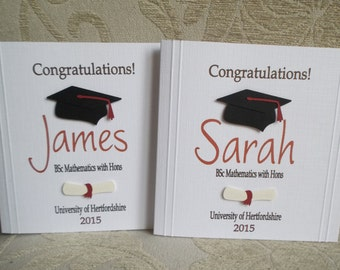 Handmade Personalised Graduation Card For Him or Her. Can be made in colours of your choice...
