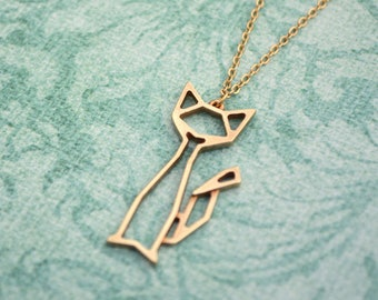 Cat origami necklace - Geometric animal pendant - Polished Brass - Made to order in Rose Gold, Gold-plate and Silver