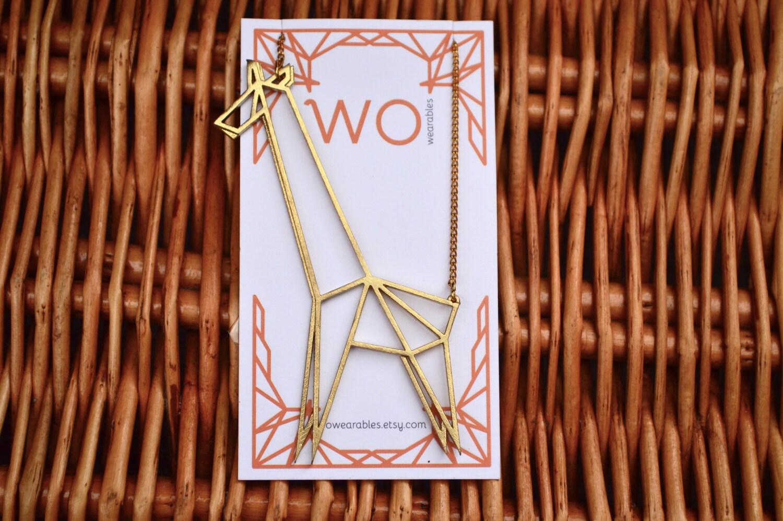 Giraffe origami necklace Geometric animal pendant Polished ... - photo#3