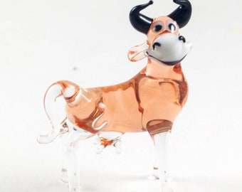 Glass Cow Figurines Small Animal Collector Paperweight Cow Sculpture Artglass Figurine Cow Statue Glass Cow Figurine Blown Glass Yellow Bull