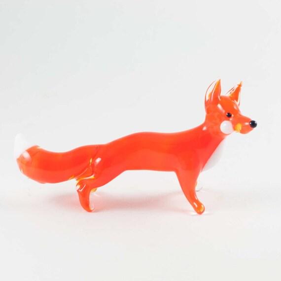Glass Fox Figurine Blown Glass Fox Glass Fox Miniature Etsy