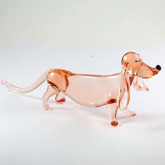 Glass dachshund dog figurine Dachshund dog sculpture Hand blown dachshund dog Lampwork dachshund dog