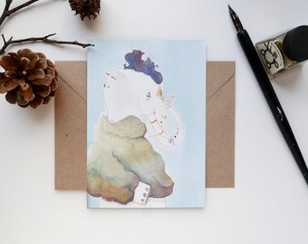 Illustration print-Animal postcard, animal-print, cute greeting card, punk rocker Mr. Elephant