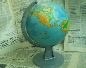 "Vintage Small Globe -Small World Globe -Old Globe -Vintage World Globe -Desk Globe -5.5"" Globe - World Map -Retro Small Globe -Collectable"