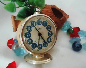 Vintage Alarm Clock ,Soviet Clock, Russian Clock , Mechanical Clock , White Retro clock , Slava,Vintage Russian Alarm Clock Soviet SLAVA