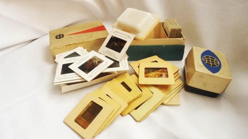 Vintage diascope Portable filmoskop Film viewer Soviet toy Slide viewer Old 3D photo viewer,Set of 53 Slide Frames for 35mm DIapositives