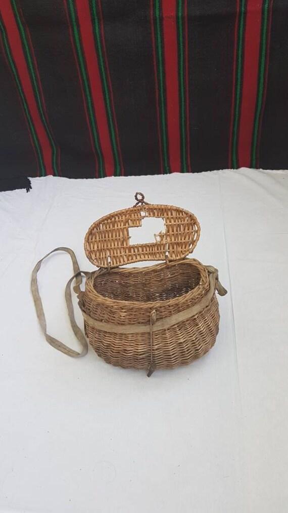 Vintage wicker basket, old fish basket, fish wicke