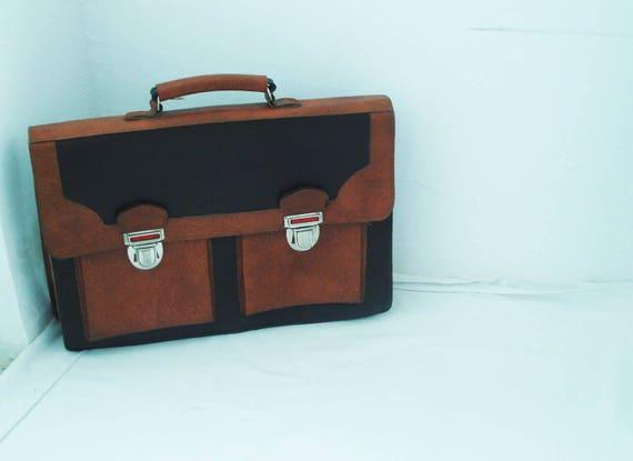 ramasser Conception innovante Design moderne Cartable en cuir Vintage, des années 70, les étudiants sac d'école, sac de  messager, sac pour ordinateur portable en cuir, sac d'école, sac brun, brun  ...