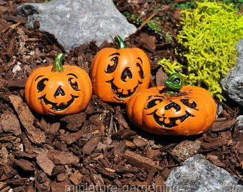 Jack-O-Lantern Picks, Set of 3 for Miniature Garden, Fairy Garden