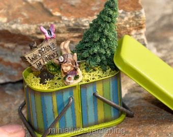 We Believe in Fairies Metal Basket for Miniature Garden, Fairy Garden