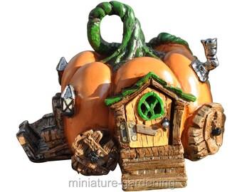Pumpkin Carriage Fairy House for Miniature Garden, Fairy Garden