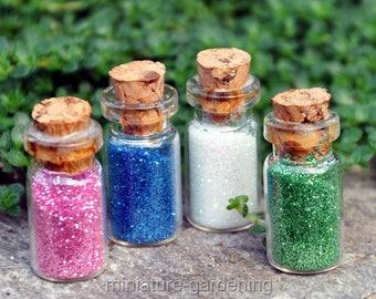 Glass Bottles with Fairy Dust for Miniature Garden, Fairy Garden