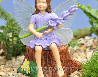 Lavender Flower Fairy for Miniature Garden, Fairy Garden