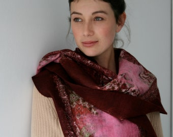 Port red and pink handmade felted wool and silk wrap with pretty floral silk and contrasting inlay