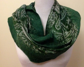 Forest green handmade felted wool and silk wrap with pretty floral silk and contrasting inlay