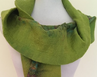 Apple Green  -  handmade felted wool and silk scarf with pretty floral silk