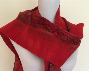 Scarlet Red -  handmade felted wool and silk scarf with pretty floral silk