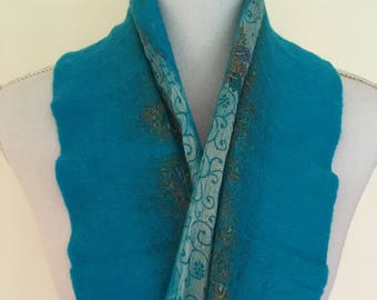 Turquoise Blue -  handmade felted wool and silk scarf with pretty floral silk