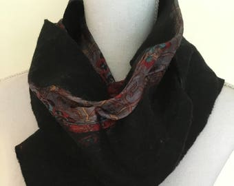 Black  -  handmade felted wool and silk scarf with pretty floral silk