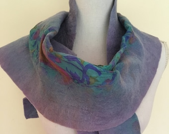 Lavender  -  handmade felted wool and silk scarf with pretty floral silk