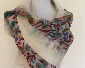 Cream hand made felted wool and silk shawl/wrap