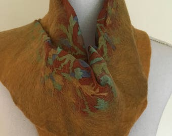 Gold Bronze -  handmade felted wool and silk scarf with pretty floral silk