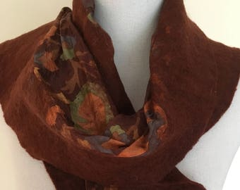 Rich Brown -  handmade felted wool and silk scarf with pretty floral silk
