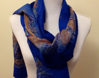 Royal Blue -  handmade felted wool and silk scarf with pretty floral silk