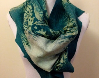 Dark Green handmade felted wool and silk wrap with pretty floral silk and contrasting inlay