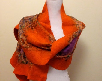 Mandarin Orange handmade felted wool and silk shawl with pretty floral silk and contrasting purple inlay