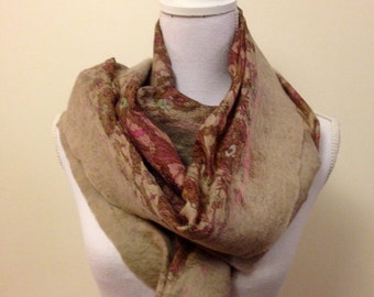 Soft walnut handmade felted wool and silk wrap with pretty floral silk and contrasting inlay