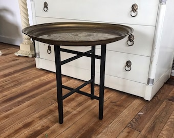 End Table Hong Kong vintage brass over copper tray table global decor