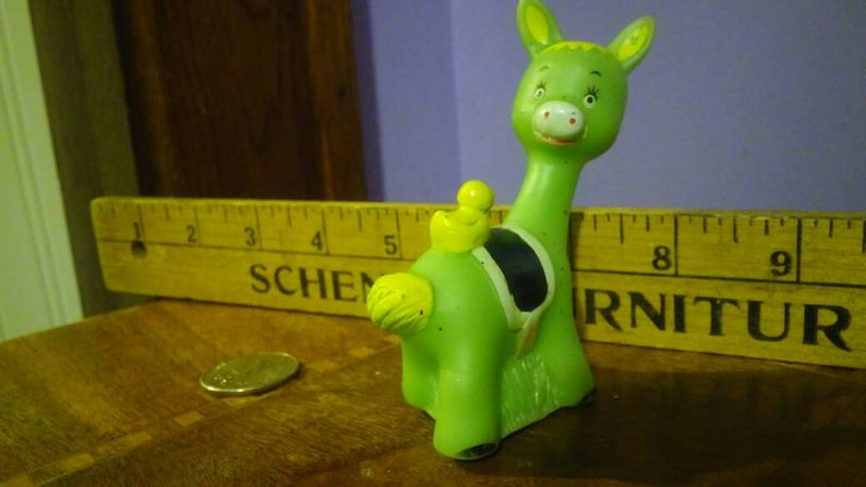 Vintage Green Rubber Llama Toy with Long Neck and Duck and Saddle on his Back