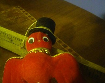 Vintage Flocked Red Bird with Gold Piping and Black Top Hat