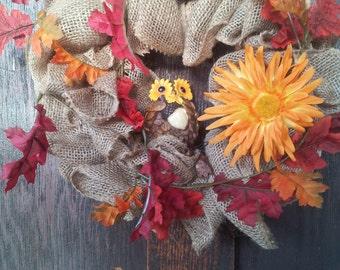 Fall Burlap Front Door Wreath with Owl