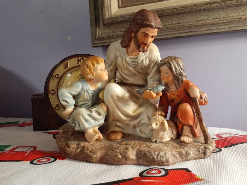 1983 Homco The Fisherman Masterpiece Porcelain Jesus with Children Fish and Sheep