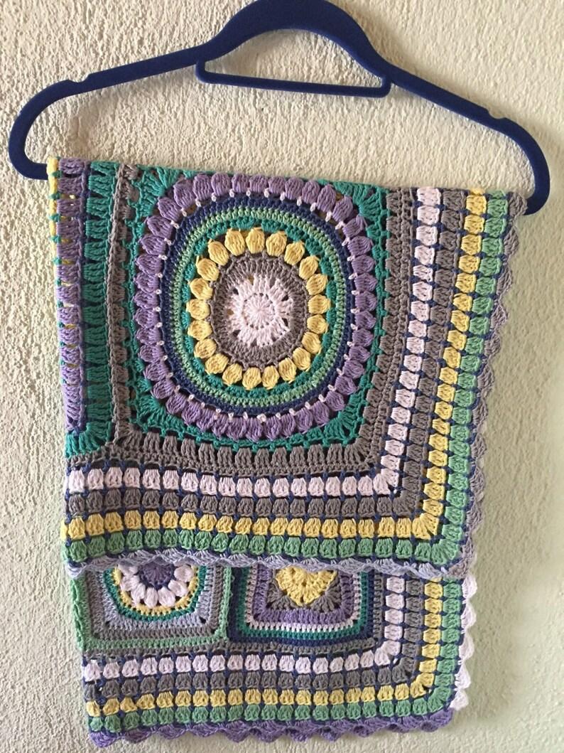 Crochet Cotton Baby Boy Blanket Unisex Blue White Gray   Etsy