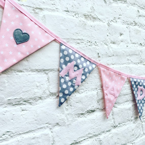 per letter//flag Personalised Baby Boy Handmade Bunting