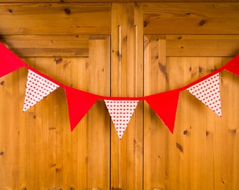 Mother's Day gift, Mother's Day decor, Mother's Day bunting, Red and white bunting, Bunting, Red with hearts bunting banner,
