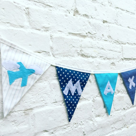 Personalised Nursery Bunting Blue Alphabet Bunting and Motifs