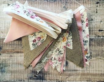 Wedding bunting, Rusting Hessian Wedding, Vintage bunting, Burlap bunting/ banner, Shabby Chic bunting, Rustic bunting , Tea party decor